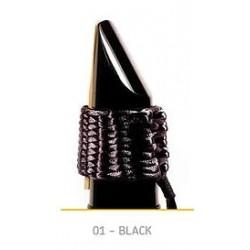 LIGATURE BAMBU AS01 POUR SAXOPHONE SOPRANO EN FIBRE SYNTHETIQUE couleur noire