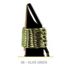LIGATURE BAMBU AC08 POUR CLARINETTE SIB EN FIBRE SYNTHETIQUE couleur vert olive